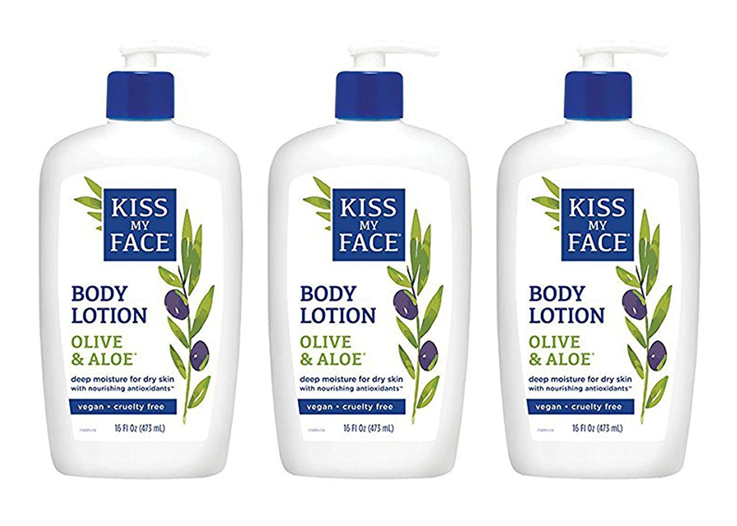 Kiss My Face Olive & Aloe Moisturizing Body Lotion, 16-Ounce Bottles (pack of 3)
