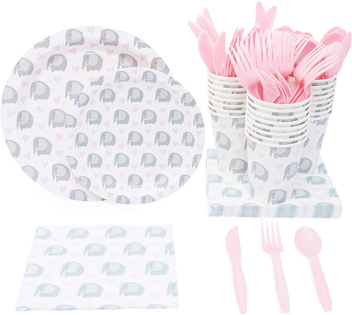 Elephant Themed Party Supplies Pack for Baby Showers (Serves 24)