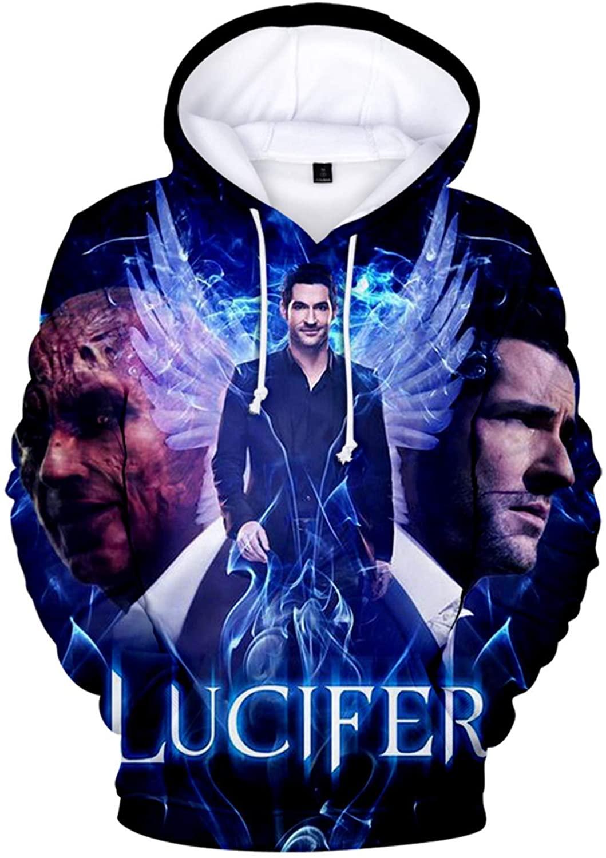 Lucky Park Lucifer Unisex Hoodie 3D Printed Hooded Pullover Sweatshirt for Men Women
