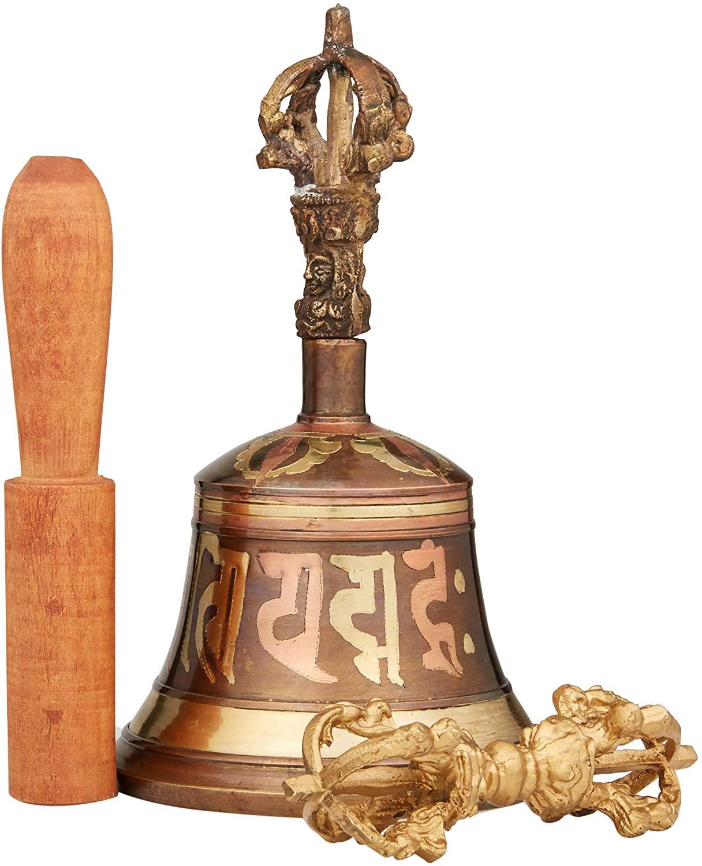 Giant Buddhist Etched Buddha Eyes & Om Mane Padme Hum Tibetan Bell and Dorje Set