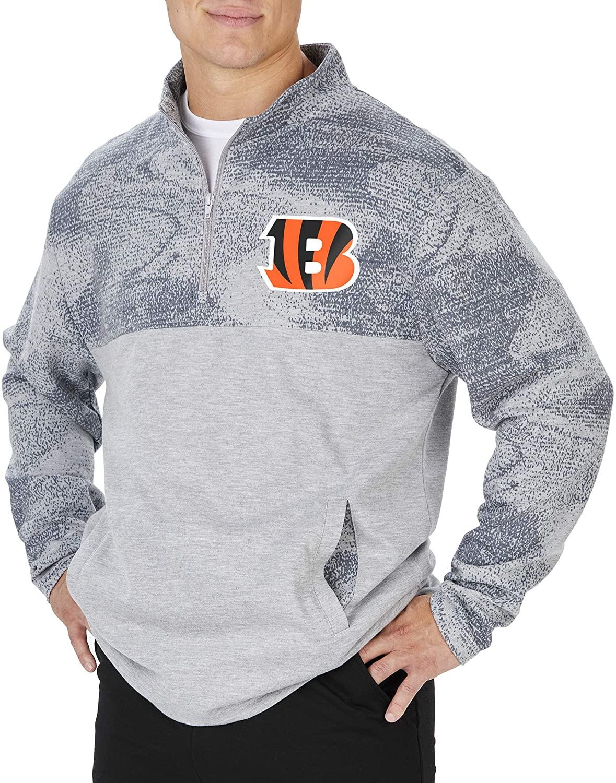 Zubaz NFL Cincinnati Bengals Men's Sherpa Fleece 1/4 Zip Jacket, Gray, XX-Large