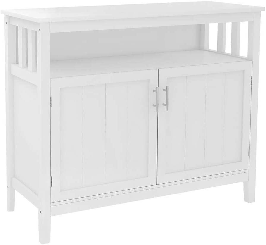 li qig Kitchen Storage Sideboard with Adjustable Shelf Cabinet UV Painting Cupboard Home Organizer, White