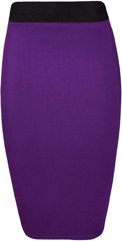 RM New Womens Plus Size Plain Bodycon Pencil Ladies Stretch Office Midi Skirt