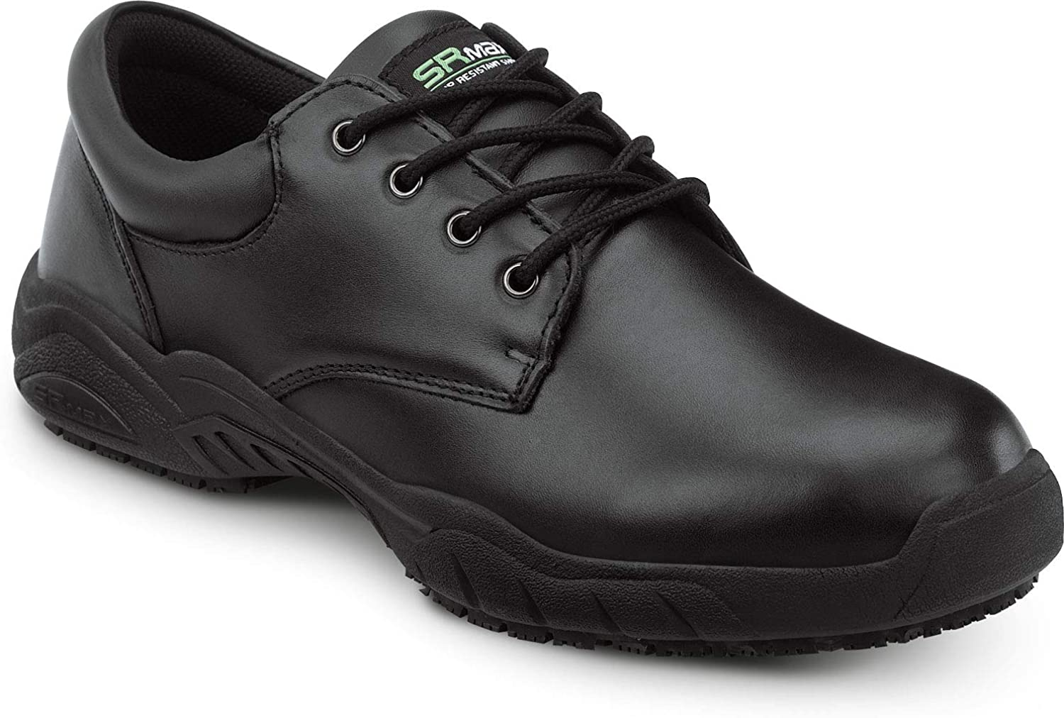 SR Max Brockton, Men's, Black, Oxford Style Slip Resistant Soft Toe Work Shoe