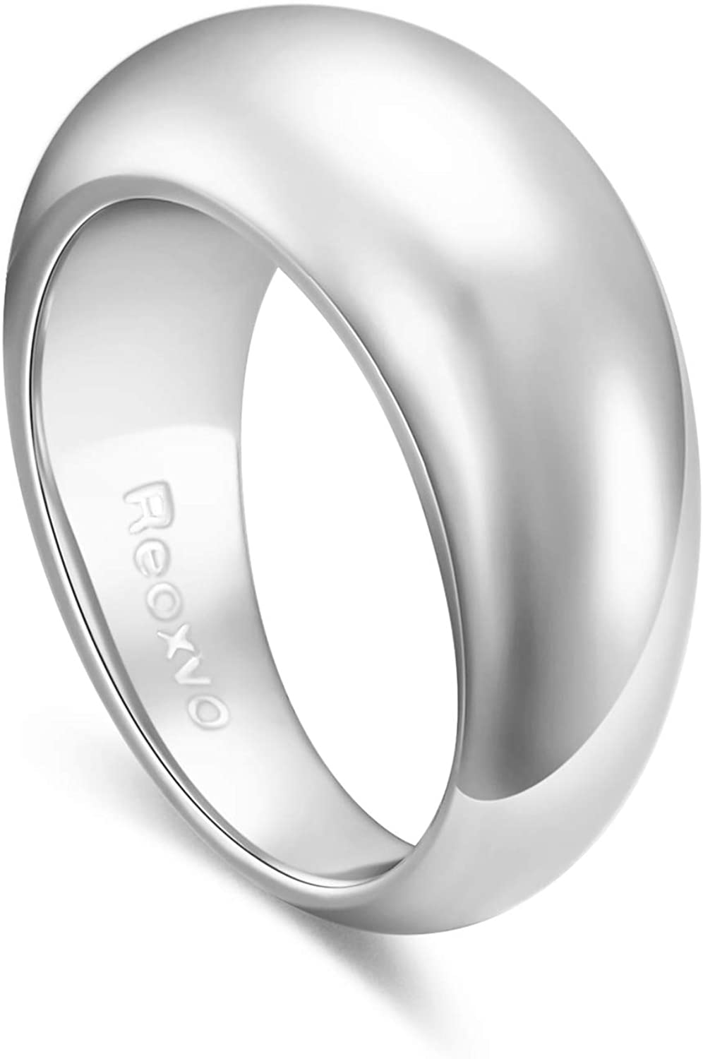 Reoxvo 18K Gold Plated Thick Chunky Dome Rings for Women Girls (5-10 Size)