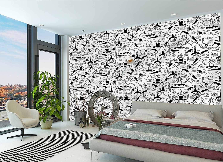 LCGGDB 3D Print Wallpaper Mural,Monochrome Meditation Peel & Stick Wallpaper for Office Nursery School Family Decor Playroom Birthday Gift -144x100 Inch