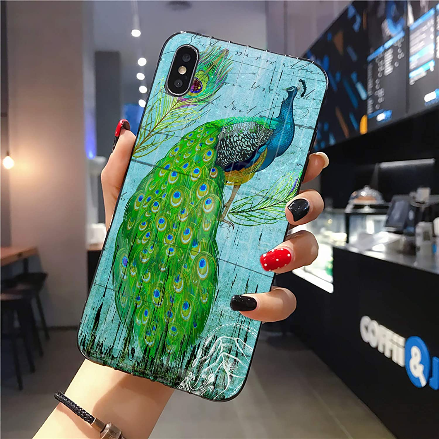 Compatible with iPhone Xs Max Case   Tough Groove   Soft TPU Engraved Grooves Phone Case   Shockproof Anti-Scratch   Peacock Animal Wood Grain Illustration