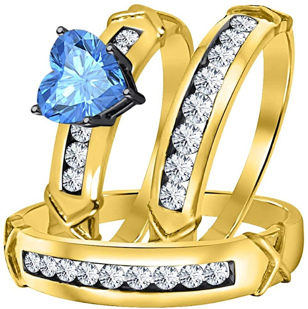 Gold & Diamonds Jewellery 3.00Ctw Heart Shaped Blue Topaz & White CZ Diamond 14k Yellow Gold Plated Engagement & Wedding Ring Trio Bridal Set for Womens & Mens