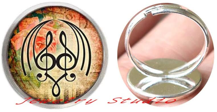 Glass Art Picture Ring Music Note Ring Plated Piano Finger Ring s Glass cabochon Ring-HZ0287