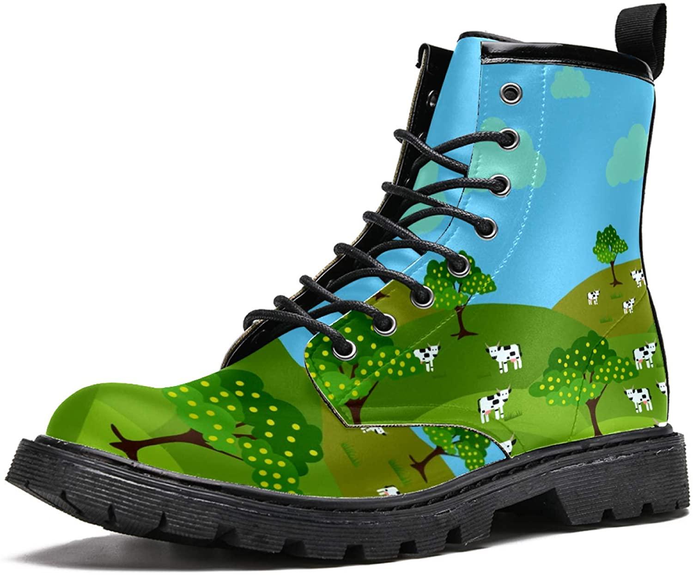 LORVIES Milk Cows Farm Landscape Men's High Top Boots Lace Up Casual Leather Ankle Shoes