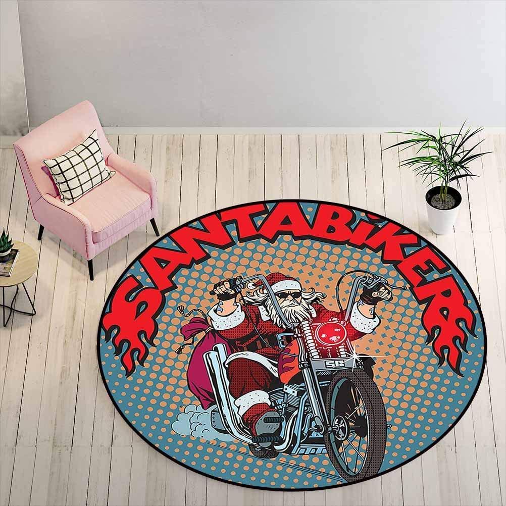 Bedroom Rug 6 ft Round - Santa Floor Pad Biker Santa Claus Riding a Motorcycle Pop Art Retro Style Background Halftone Effect, Multicolor