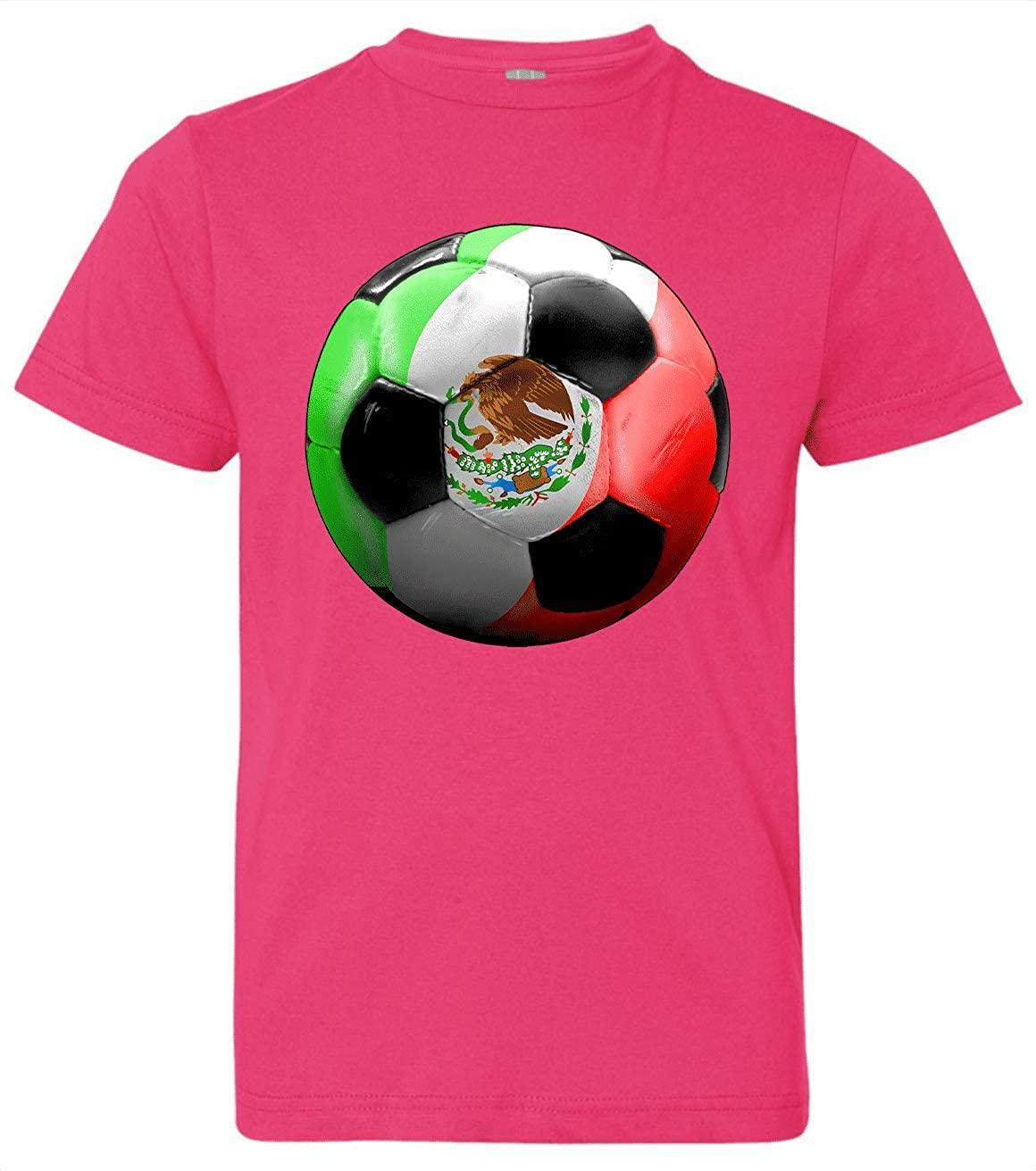 HARD EDGE DESIGN Boy's Youth Mexico Soccer T-Shirt, Medium, Hot Pink