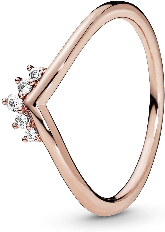 Pandora Jewelry Tiara Wishbone Cubic Zirconia Ring in Pandora Rose, Size 5