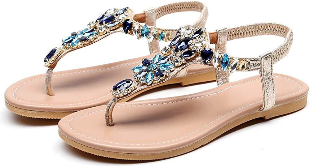 天星羽 Summer Women's Sandals Rhinestone Casual Comfortable Beach Shoes