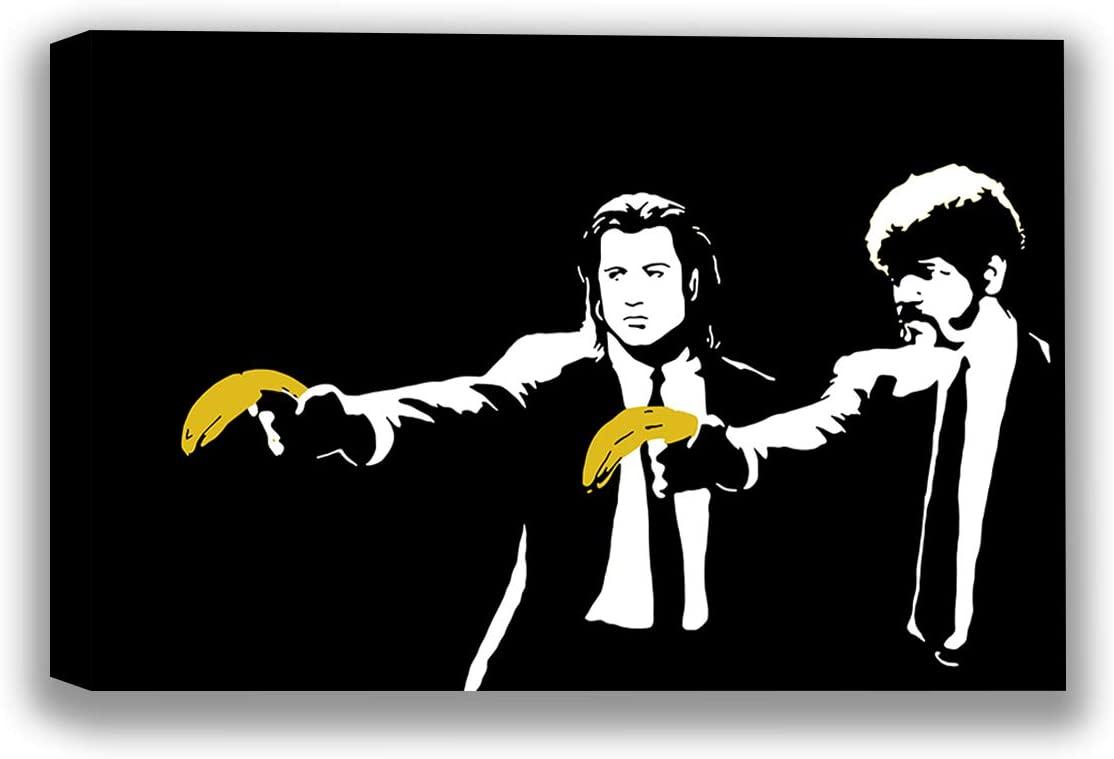 Banksy Canvas Art Bananas Canvas Street Decor Funny Pulp Fiction Picture Wall Art Pulp Fiction Banksy Street Artist Tarantino Movie Poster 32 x 40 NO Frame