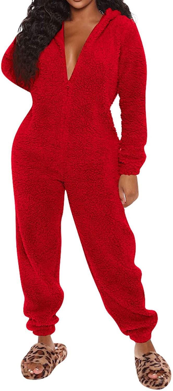Women One Piece Fuzzy Warm Sherpa Hooded Pajamas Jumpsuit Zip Up Onesie Sleepwear with Bear Ear Nightwear