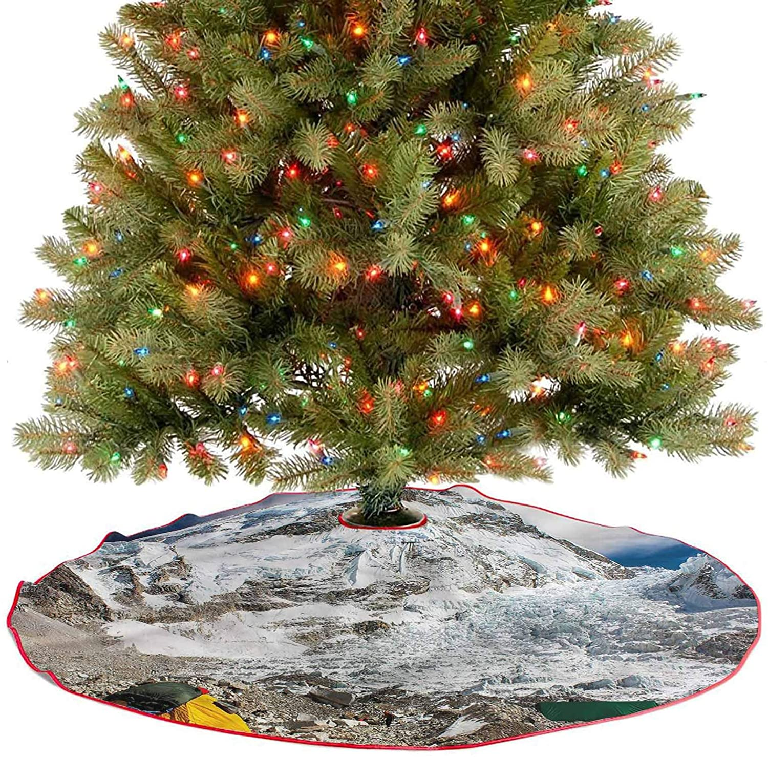 ThinkingPower Christmas Tree Skirt Decorations Snowy Mountain Everest Peak 2020 New Christmas Tree Skirt Decoration for Xmas New Year Holiday Party Home Diameter - 48 Inch