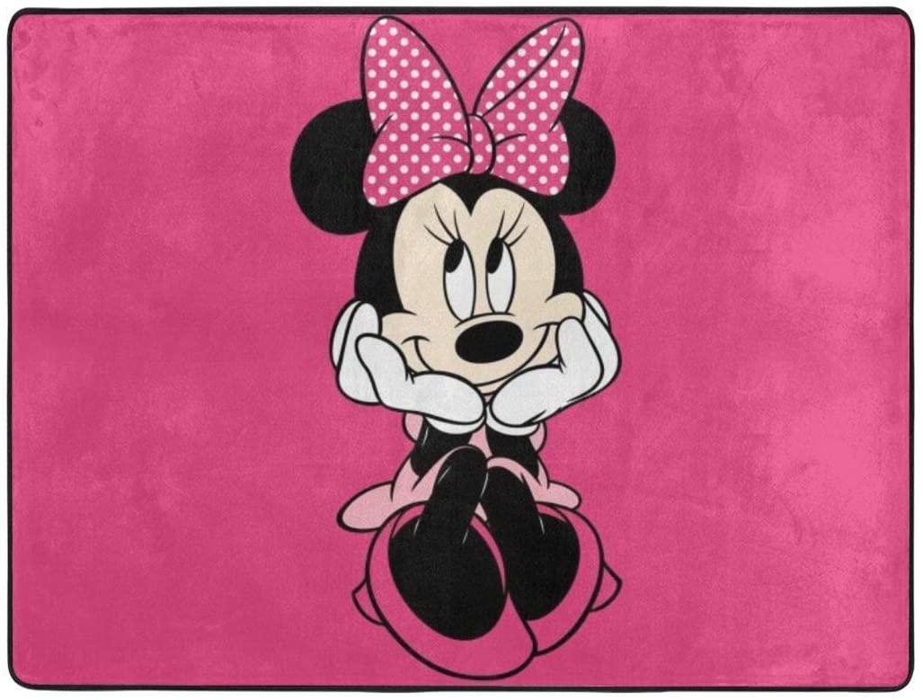 Pooizsdzzz Area Rugs Anti-Skid Carpet Minnie Mouse Carpet Indoor Home Floor Bedroom Hallway Kindergarten Gift 63 X 48 Inch