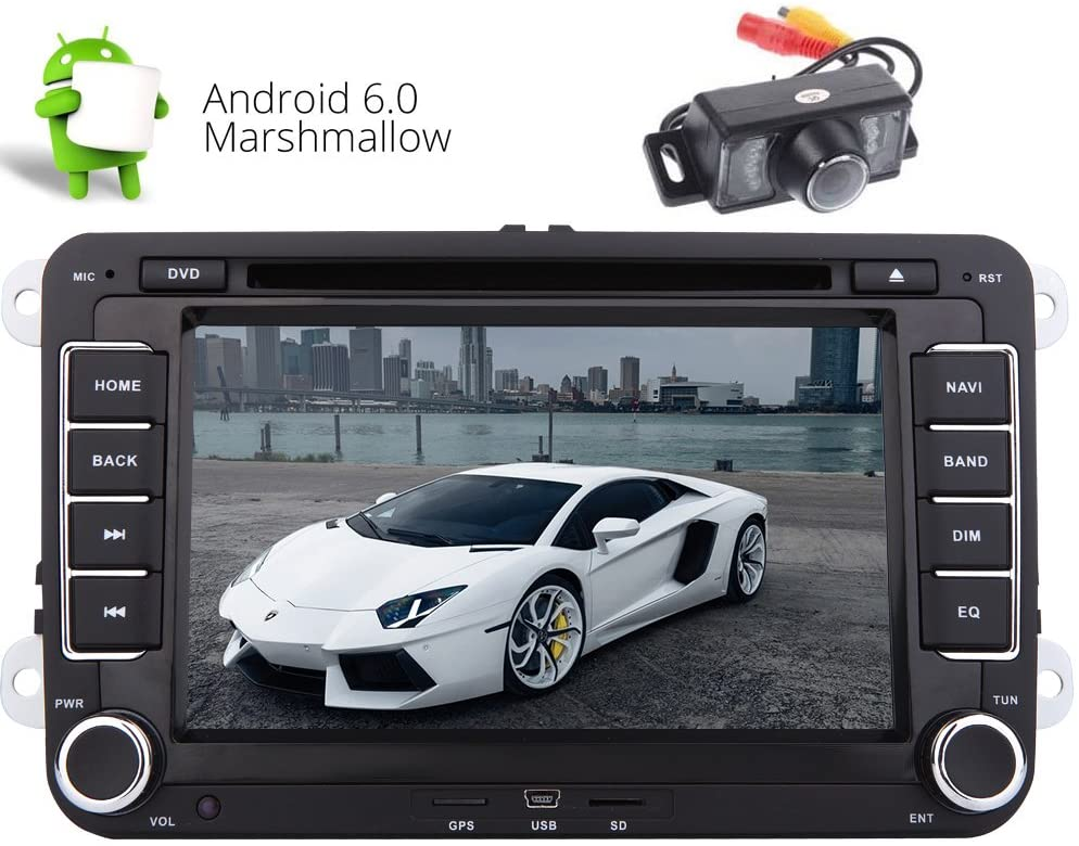 Double Din Car Stereo 7 inch Android 6.0 Quad-core GPS Navigation Head Unit Car DVD Player for Jetta Golf Passat EOS Support GPS Sat Nav Bluetooth Car Radio Can-Bus USB SD 4G/3G WiFi cam-in DVR OBD2