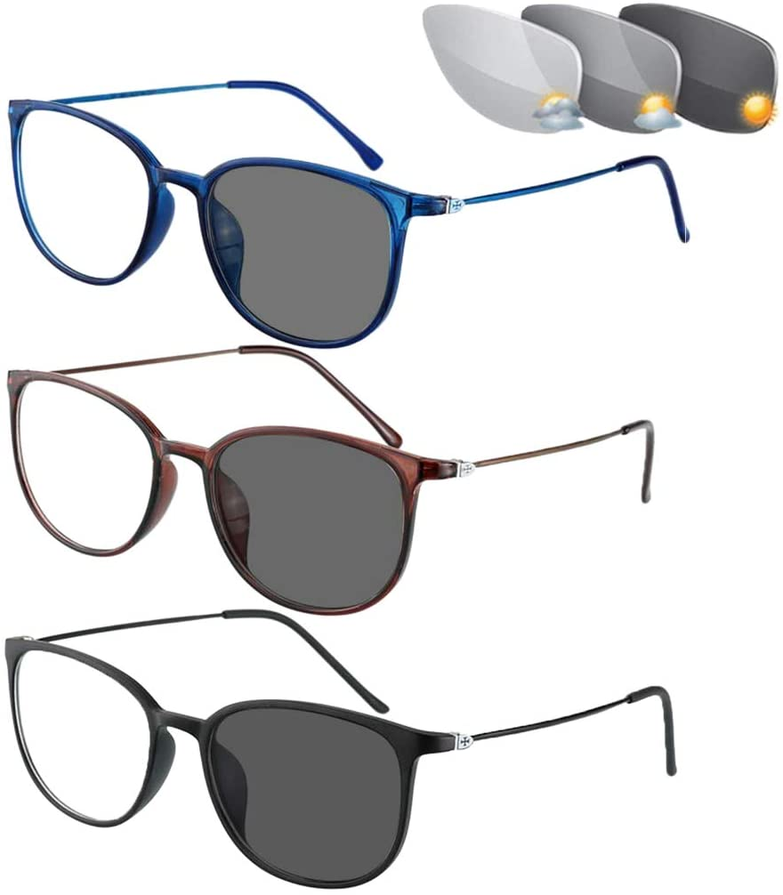 QIMO 3 Mix Color Bifocal Reading Glasses,Transition Photochromic Dark Grey Sunglasses, Oval Frame, Dual-use for Outdoor UV Protection, Computer Reading Glasses, Reduce Glare