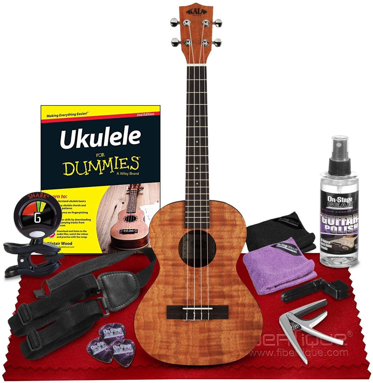 Kala Exotic Mahogany Tenor Ukulele (Amber Stain) (KA-TEM) + Ukulele For Dummies (2nd Edition), Snark SN6X Clip-On Ukulele Tuner, Ukulele Strap, Ukulele Capo & Universal Guitar Care Kit