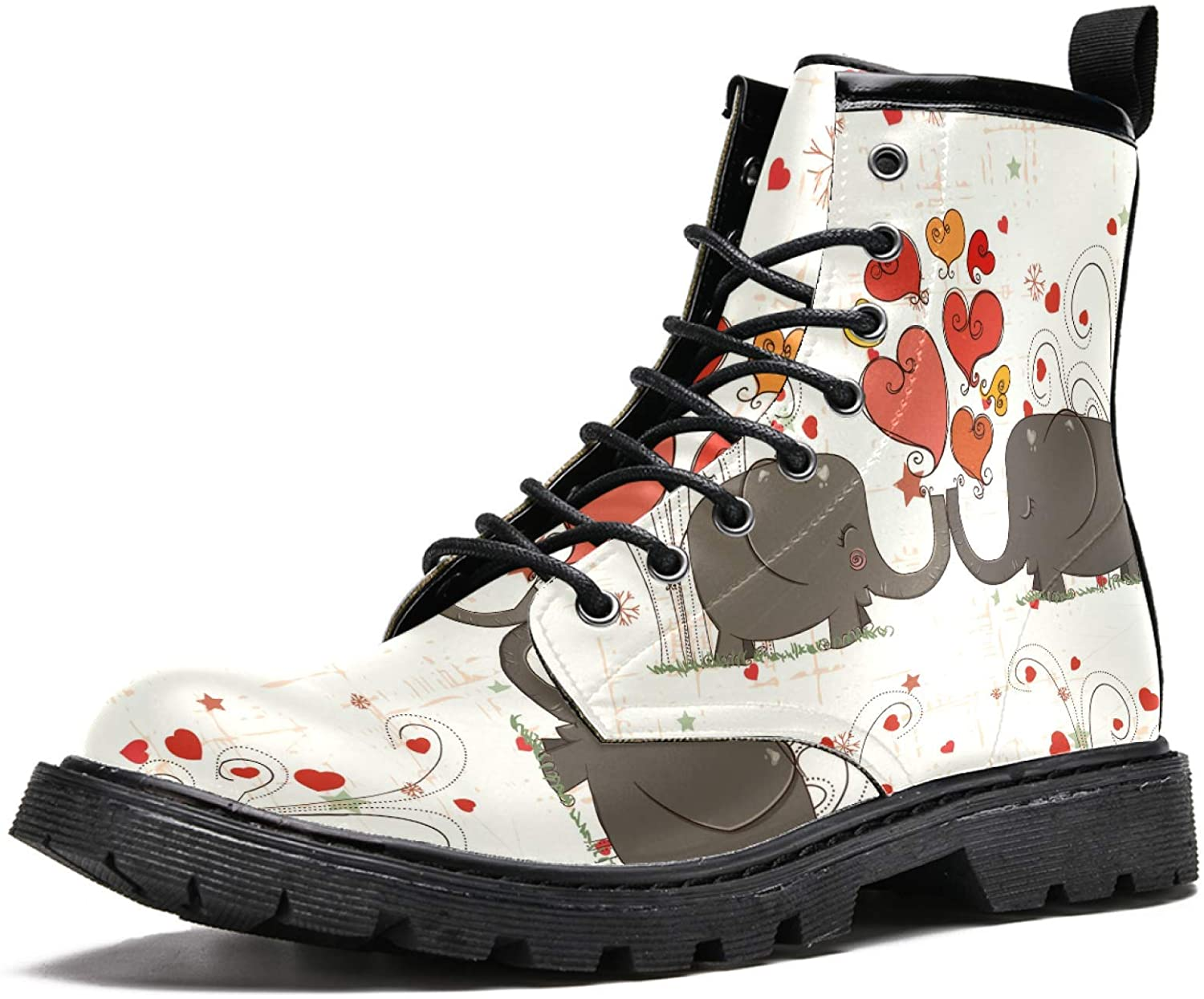 LORVIES Happy Valentines Day Elephants Men's High Top Boots Lace Up Casual Leather Ankle Shoes