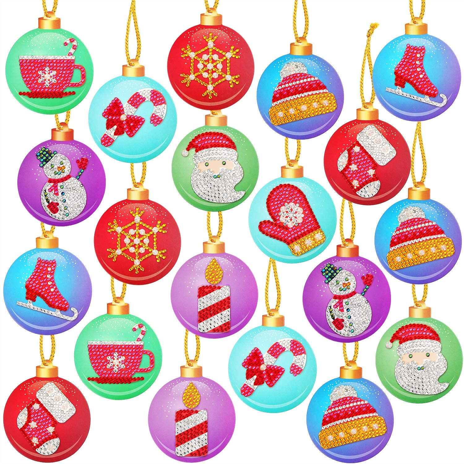 20 Pieces Christmas DIY Diamond Painting Tags Diamond Painting Key Chain Hanging Pendant Handcraft Cards Decoration for Christmas Tree Crafts Family Decoration