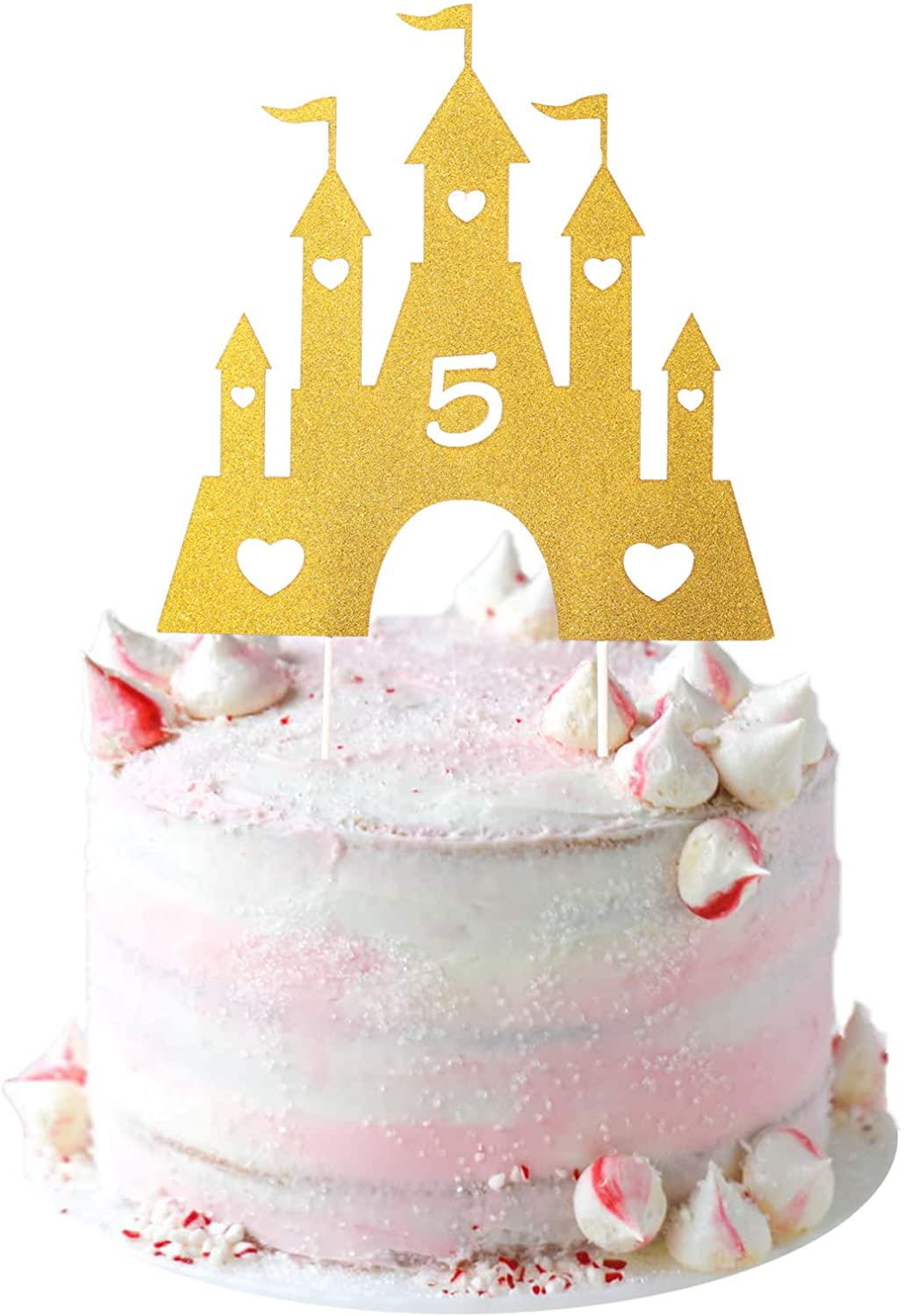 Princess Cake Topper 5, Castle Cake Topper 5, Princess 5th Birthday Cake Topper for Girls Princess Birthday Party Decorations