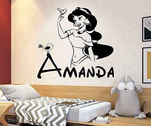 Personalized Name Princess Jasmine Wall Decal   Aladdin Wall Decor   Cartoon Wall Sticker   Wall Decor for Girls Bedroom 4056
