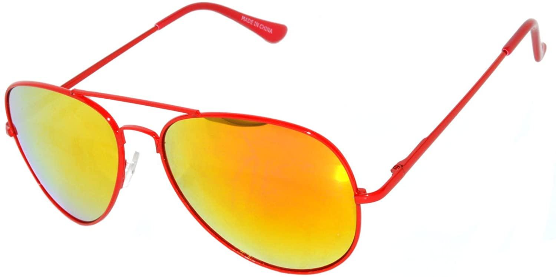 Red Neon Metal Frame Aviator Style Sunglasses Full Mirror Lens Spring Hinge