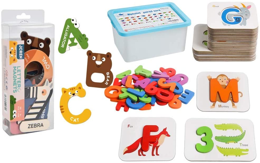 JCREN Jumbo Magnetic Letters Animals Alphabet + Alphabets and Numbers Flash Cards Toys Matching Puzzle Game Montessori Toy for Kids Toddlers Educational Activities Preschool Learning