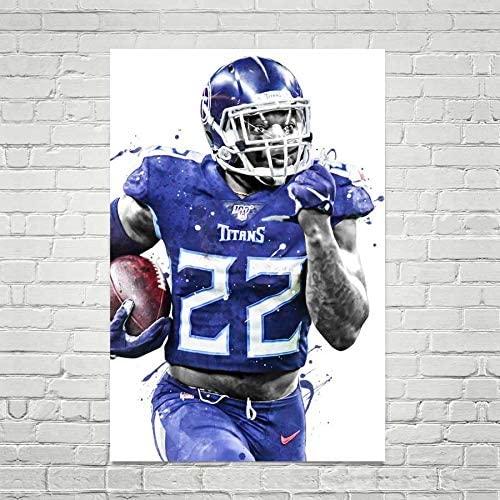 TikTok Studio Derrick Henry Print, Derrick Henry Poster, Tennessee Titans Poster, American Football Print, Football Poster, NFL Decor, Sports Art Print, Man Cave Gifts (M - 18 x 24 inch (46 x 61 cm))