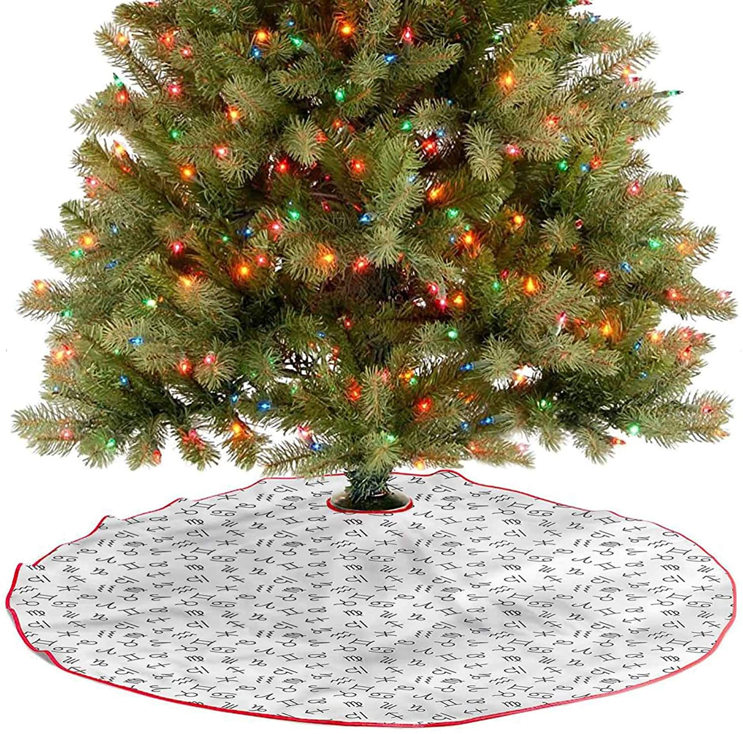 ThinkingPower Christmas Tree Skirt Signs of The Zodiac Traditional Christmas Tree Mat for Merry Christmas Holiday Party Decorations Diameter - 36 Inch
