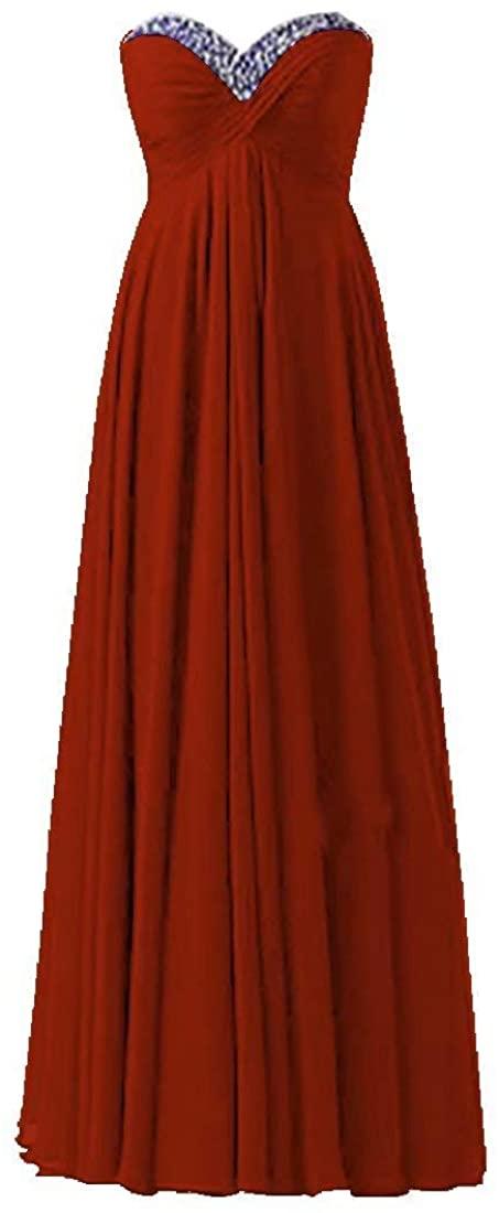 Dexinyuan Beaded Bridesmaid Dresses Long Sweetheart Neck Bridesmaid Gowns Sleeveless