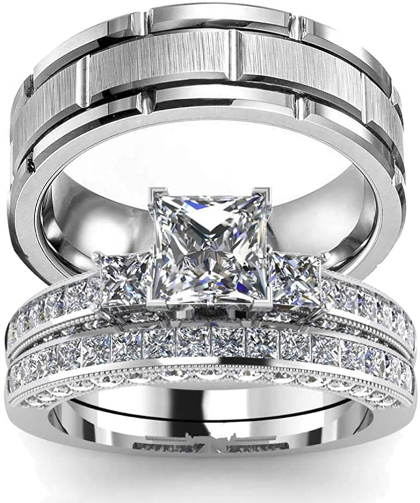 wedding ring set Two Rings His Hers Couples Matching Rings Women's 2pc White Gold Filled Square CZ Wedding Engagement Ring Bridal Sets & Men's Titanium Wedding Band