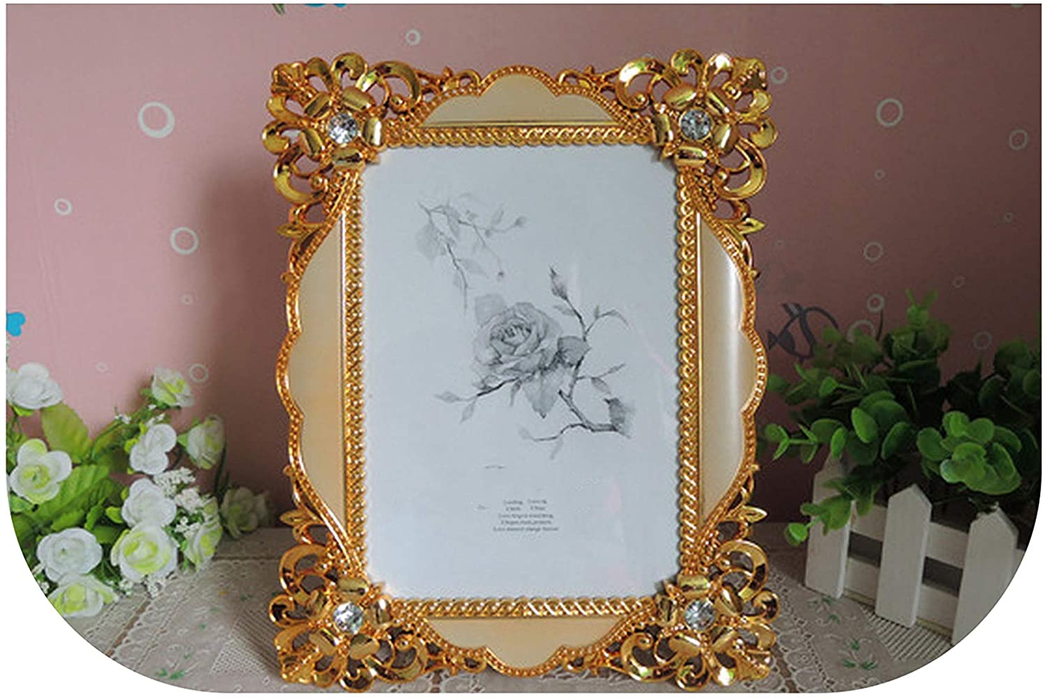 mamamoo Vintage Luxury Baroque Style Gold Silver Desktop Frame Photo Frame Gift for Friend Family,02