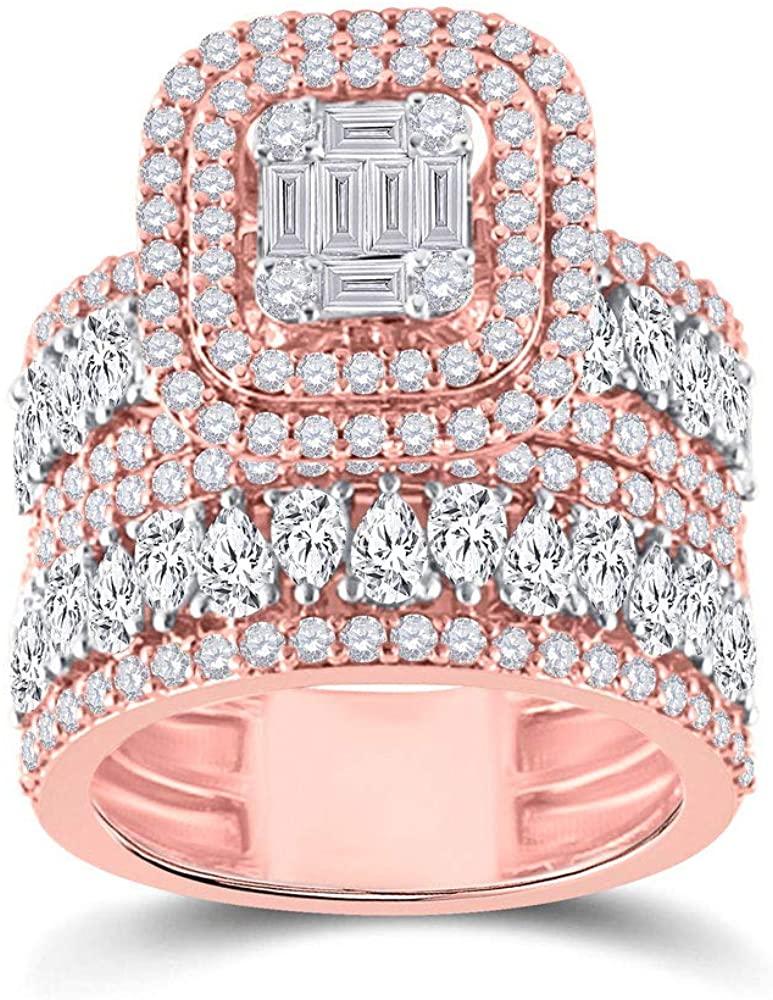 Dazzlingrock Collection 14kt Rose Gold Baguette Diamond Bridal Wedding Ring Band Set 3-5/8 Cttw