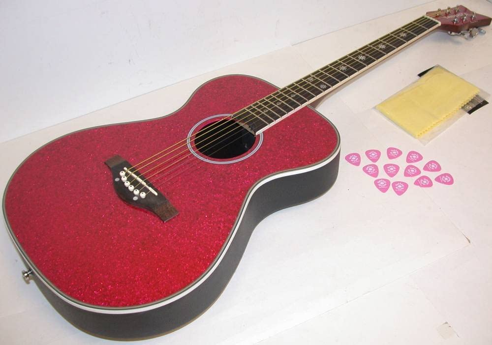 DAISY ROCK Pixie Acoustic Pink Sparkle Guitar 14-6205, Composite Oval Back, Spruce Top, Includes 12 Daisy Rock Picks & TMS Polishing Cloth