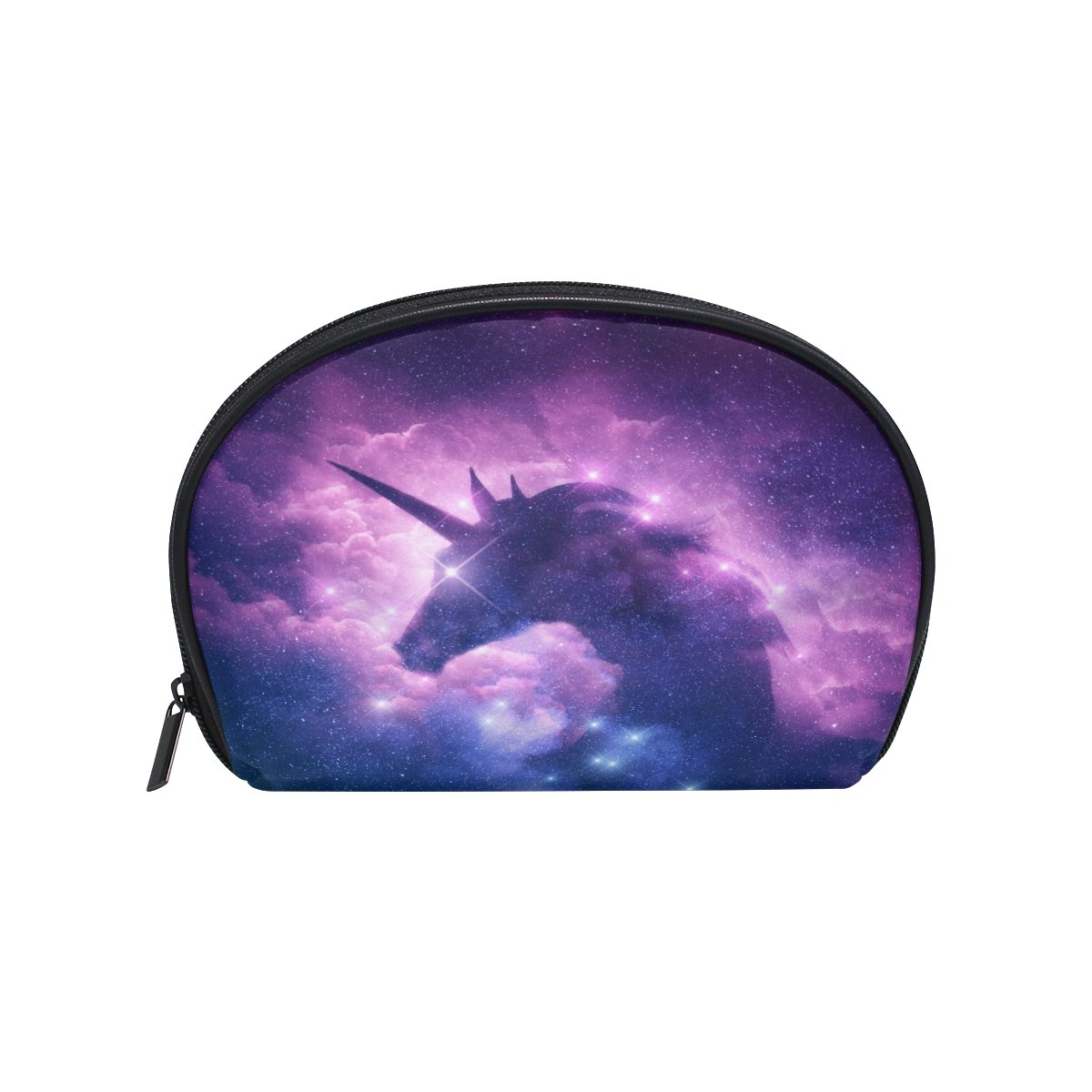 ALAZA Galaxy Nebula Unicorn Half Moon Cosmetic Makeup Toiletry Bag Pouch Travel Handy Purse Organizer Bag for Women Girls