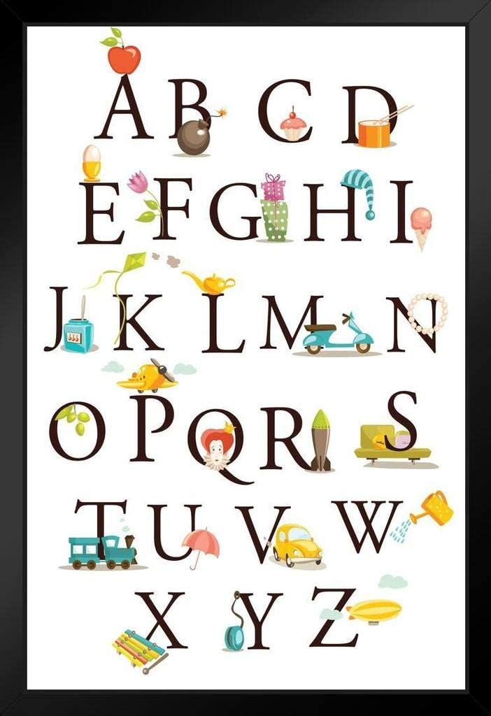 Cute Cartoon Alphabet ABC Classroom Learning Educational Art Print Stand or Hang Wood Frame Display Poster Print 9x13