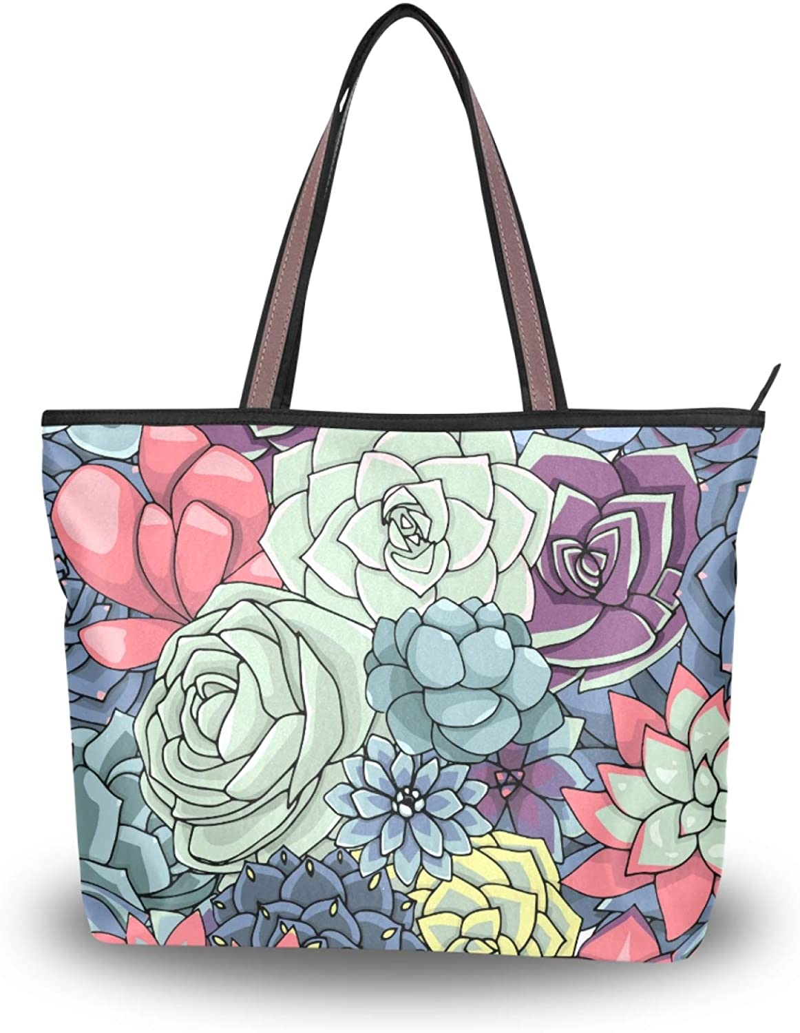 Women Large Tote Shoulder Handbag Colored Succulents And Cactus Floral Top Handle Shopping Bags for Ladies