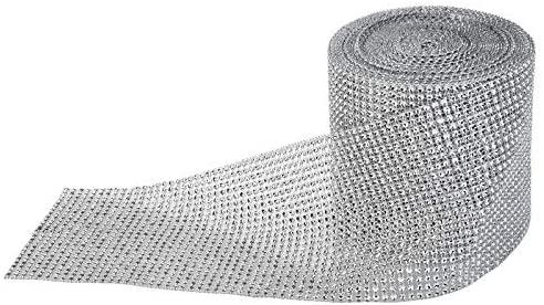 PaperLanternStore.com 30 FT Silver Diamond Rhinestone Mesh Wrap