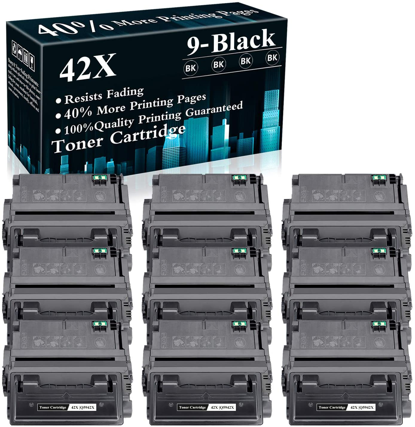 9 Pack 42X   Q5942X Black Compatible Toner Cartridge Replacement for HP Laserjet 4200 4200N 4200dtn 4250 4250n 4250dtnsl 4300n 4300dtns 4350n 4350tn 4350dtn M4345xs M4345xm MFP Printer,Sold by TopInk