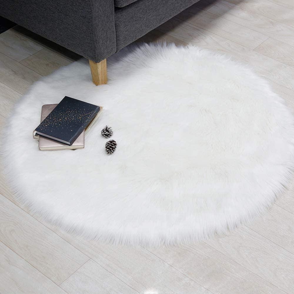 Supermee White Fur Rug White Fluffy Rug White Rugs for Bedroom Fluffy White Fuzzy Rug White Furry Rug White Faux Fur Rug White Rugs for Bedroom 3x3 Feet Round ( White)