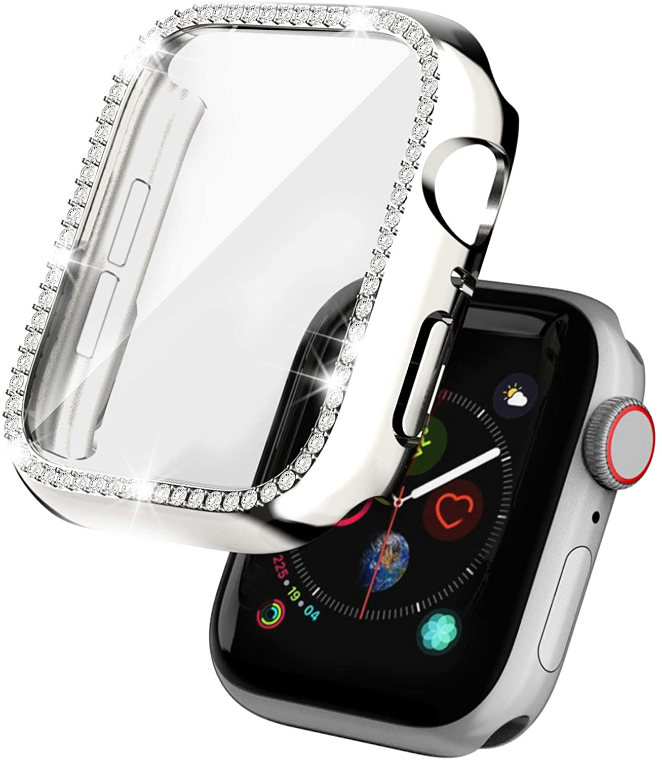 Drztope Case Compatible for Apple Watch Screen Protector 38mm, Full Protective Case with HD Screen Protector Bling Diamonds Shiny Rhinestone Cover for iWatch 3/2/1(Silver)