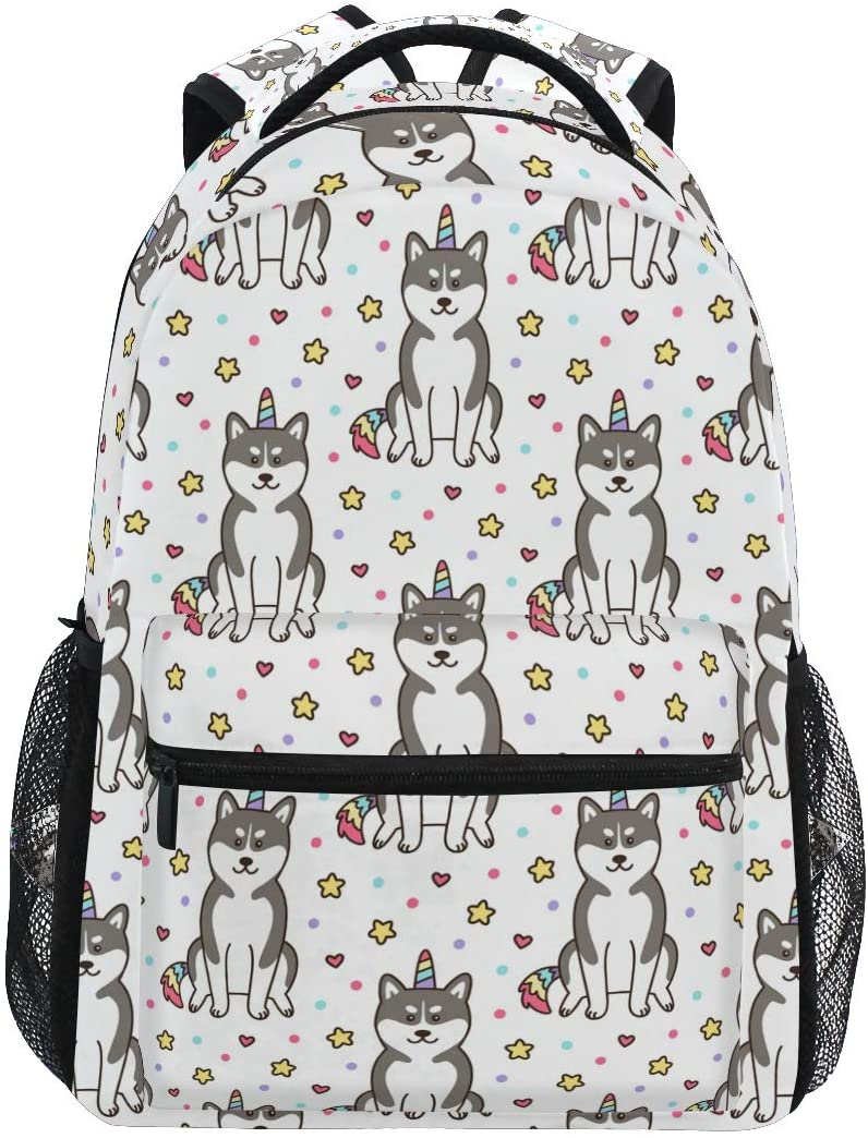 ALAZA Star Heart Husky Dog Print Unicorn Large Backpack Personalized Laptop iPad Tablet Travel School Bag with Multiple Pockets