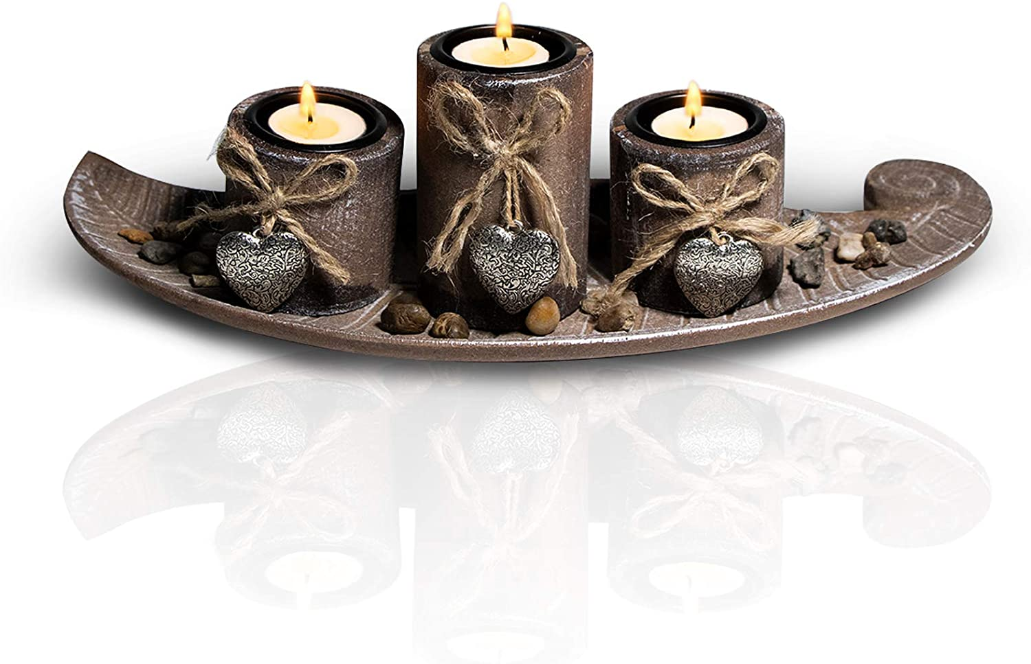 H/L Tealight Holders Candles, Votive Candle Holder Set of 3, Wood Candle Holders with Tray Heart Shaped Sign - for Table Decorative Centerpieces   Living Room   Bathroom