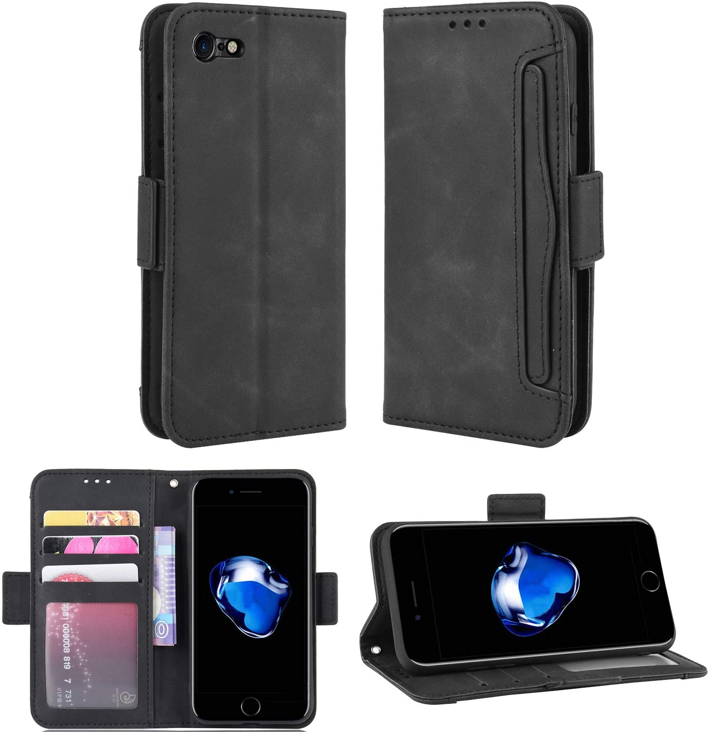 FengXinZi Compatible with iPhone SE 2020/7/8 Wallet Case with Card Holder, Credit Card Slots Anti-Scratch Shockproof Protective,Premium PU Leather Kickstand Girls SE2020 iphone7cases iphone7 Black