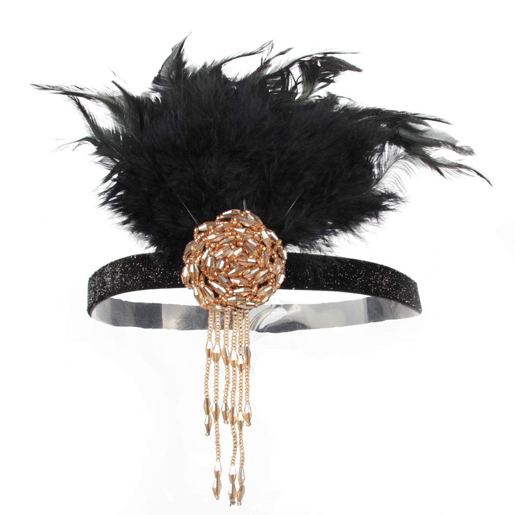 Fashey 1920s Flapper Headband Vintage Feather Headpiece with Rhinestone Crystal Great Gatsby Inspired Flapper Hair Accessories for Prom Party Festival (Type D)