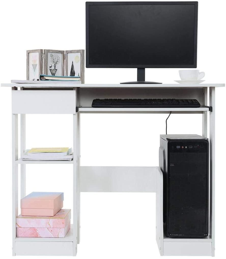 666 Desktop, Home Computer Desk, Modern Minimalist Desk, Creative Writing Desk with Computer Mainframe, Keyboard Tray, Bookshelf, Storage Rack, Easy Assemble, 90×48×70cm, Warm White